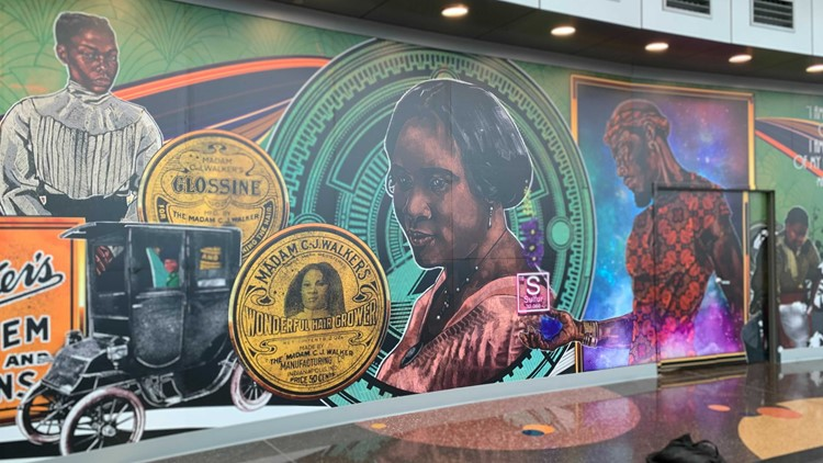 Madam C.J. Walker mural unveiled at Indy Airport