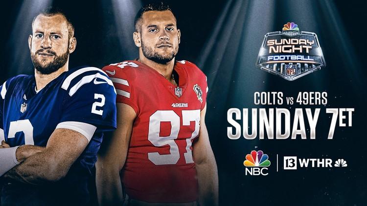 Colts visit 49ers on NBC's Sunday Night Football