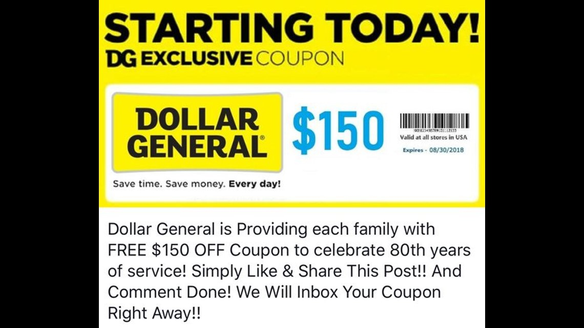 Not Real News Dollar General Not Giving Away 150 Coupons Wthr Com