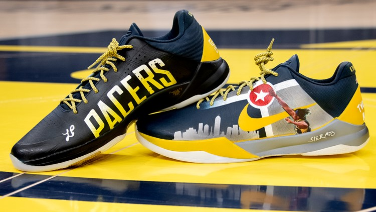 Indianapolis native designs Myles Turner's shoes for Pacers-Bucks game
