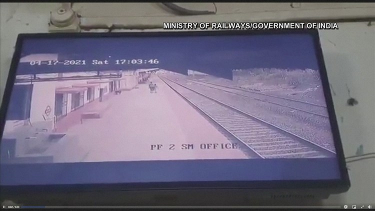 Child rescued from train tracks in India