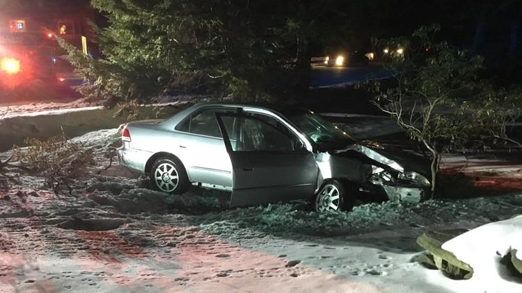 Car vs. pole crash closes Route 74 in Tolland