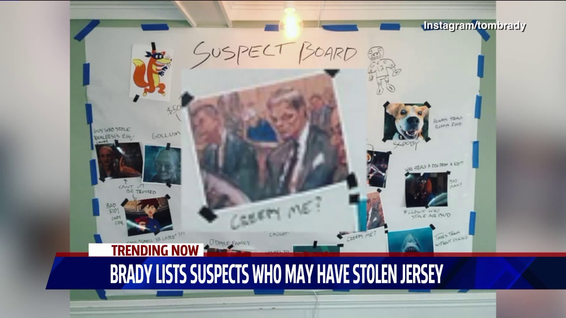 Brady posts suspect board for missing jersey