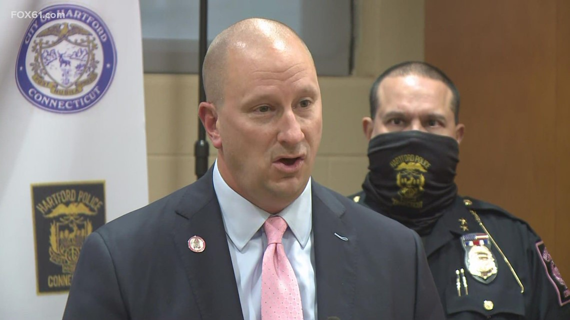 Hartford mayor, police discuss investigation after man fired shots at officer in cruiser
