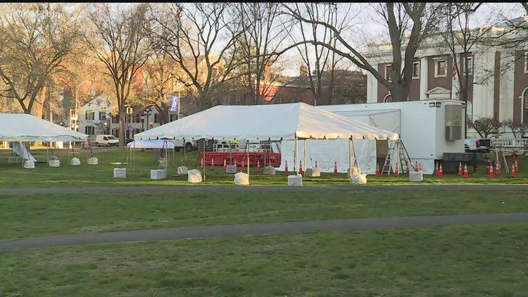 FEMA mobile vaccination unit at New Haven Green today