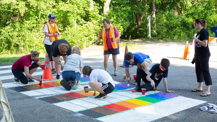 A rainbow crosswalk in Litchfield to celebrate Pride month
