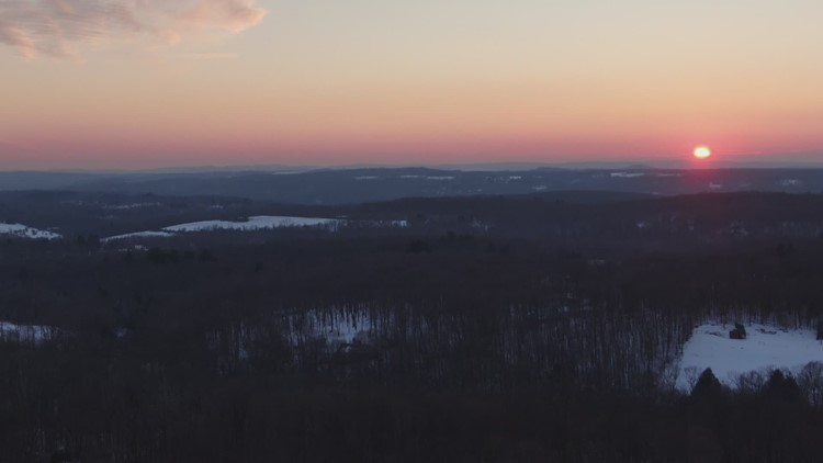 Sky61 Drone: February Sunset in Washington, CT