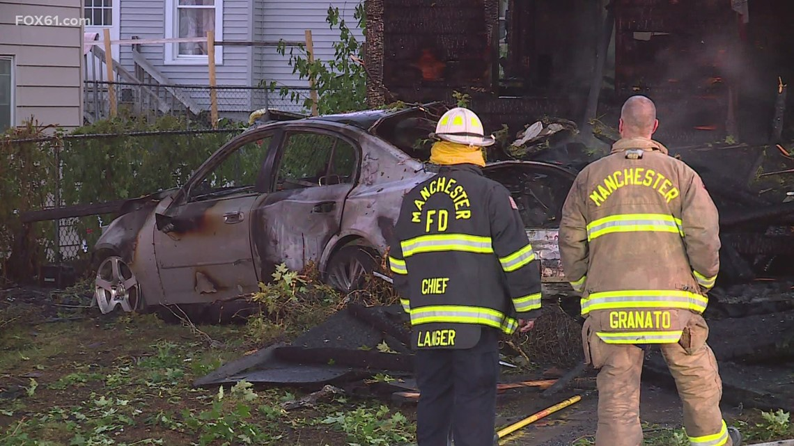 One dead in Manchester crash, fire