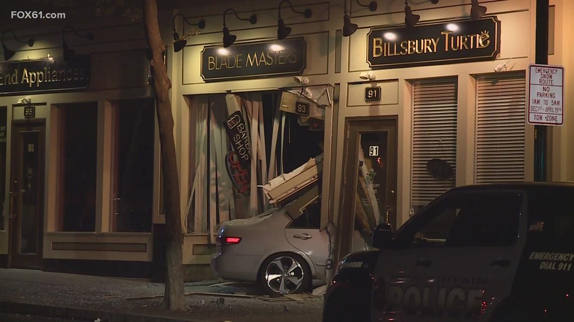 Car slams into New Britain business on West Main Street