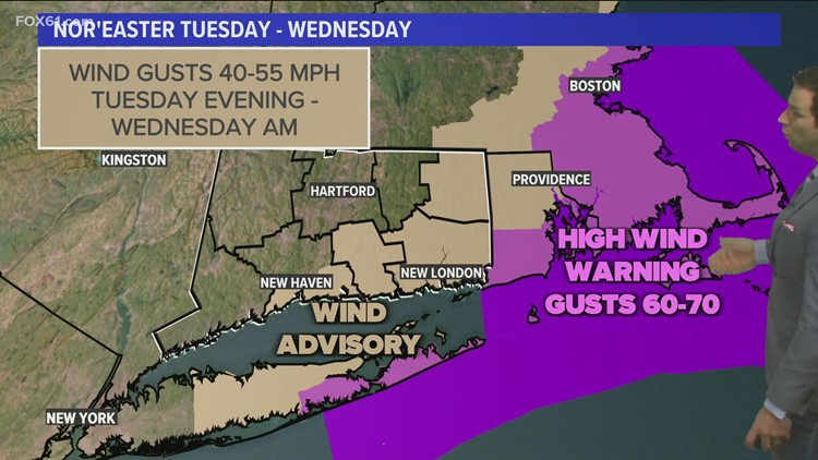 Strong nor'easter bringing heavy rain and gusty winds