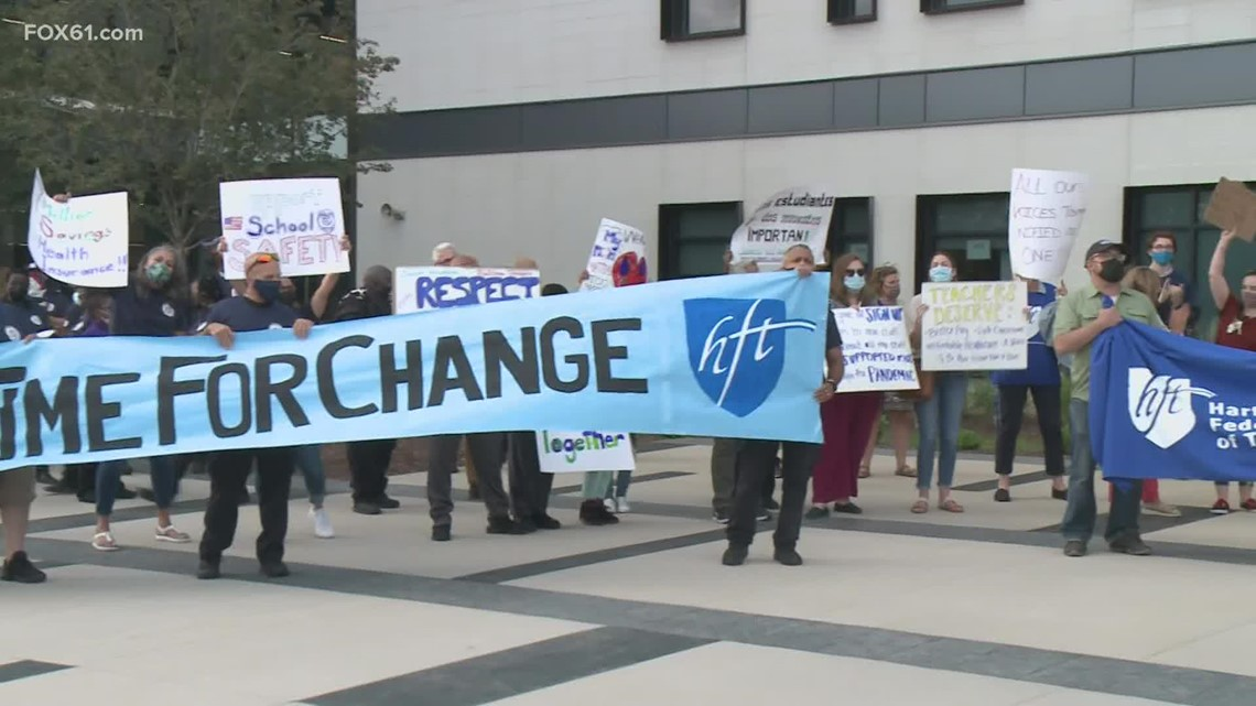 Hartford Public School staff rally for higher salaries, more affordable health care