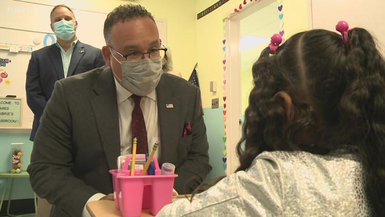 Education Sec. Cardona talks masks, vaccines during Waterbury school tour in CT homecoming