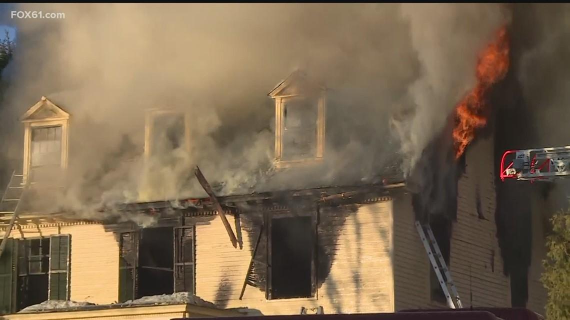 Crews battle house fire in West Hartford