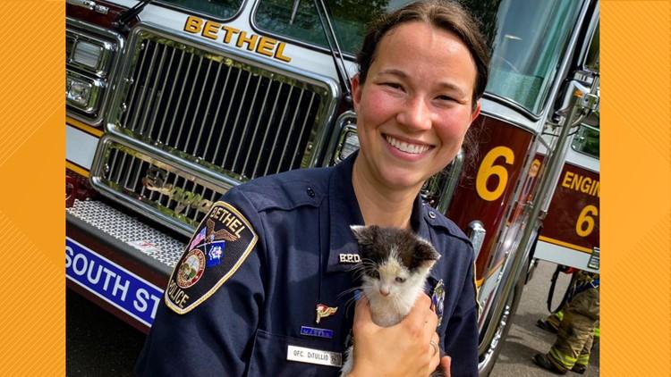 Bethel first responders rescue kitten stuck in storm drain