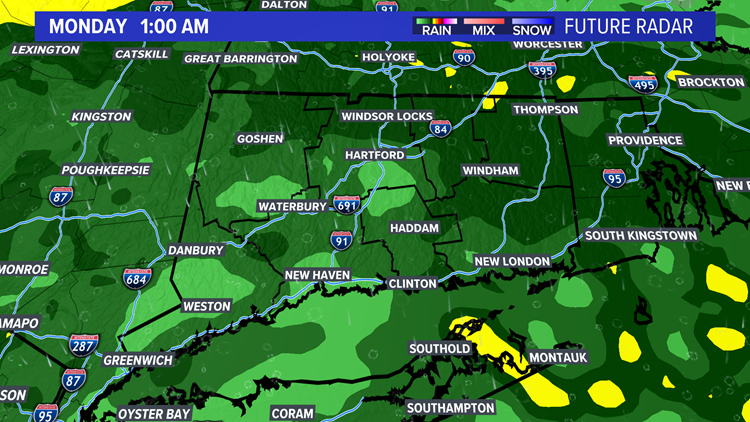 Soaking rain expected overnight. Cool to start the week.