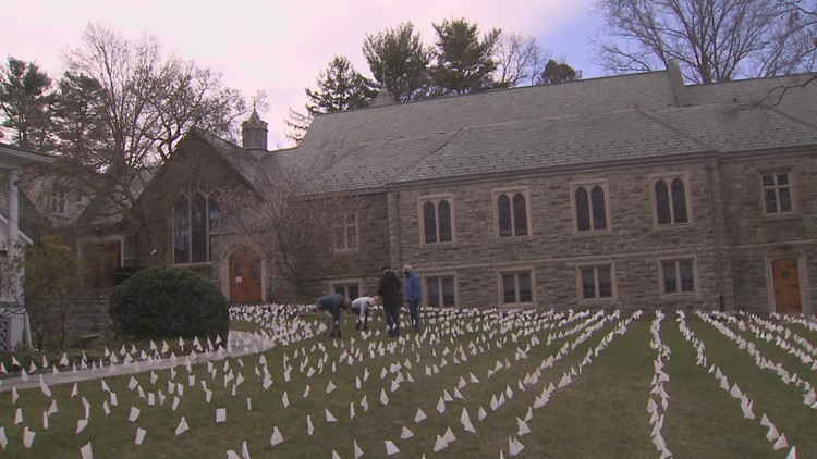 Flags planted in Greenwich to remember those lost to COVID-19 in CT