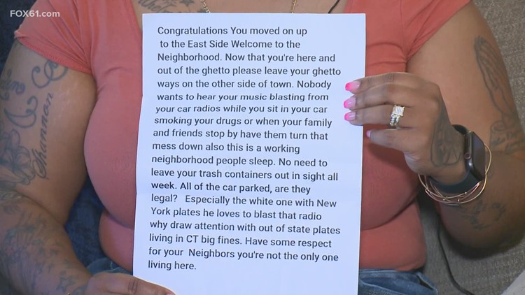 Waterbury mother speaks out after receiving racially charged letter