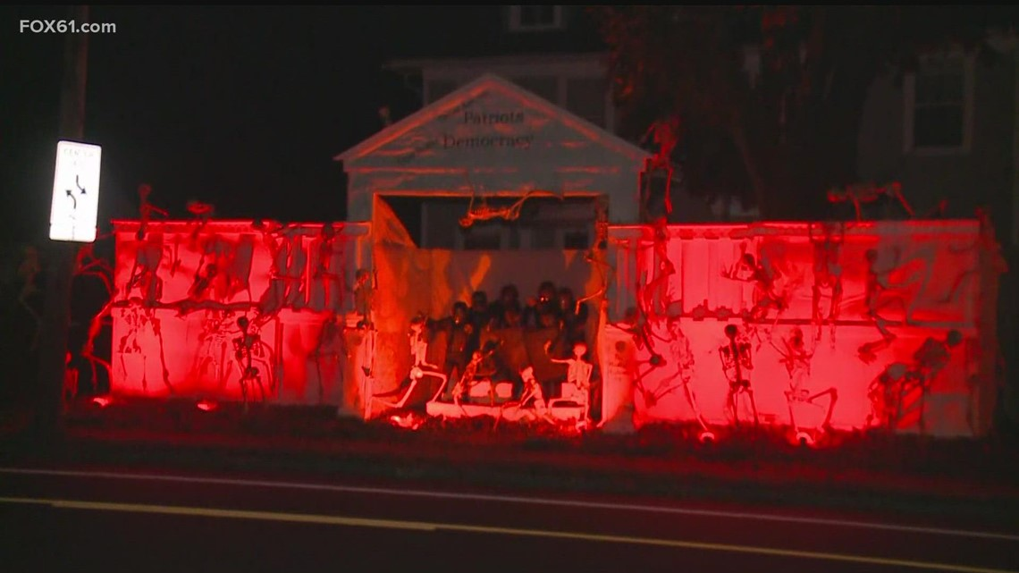 West Hartford homeowner continues tradition with political Halloween display