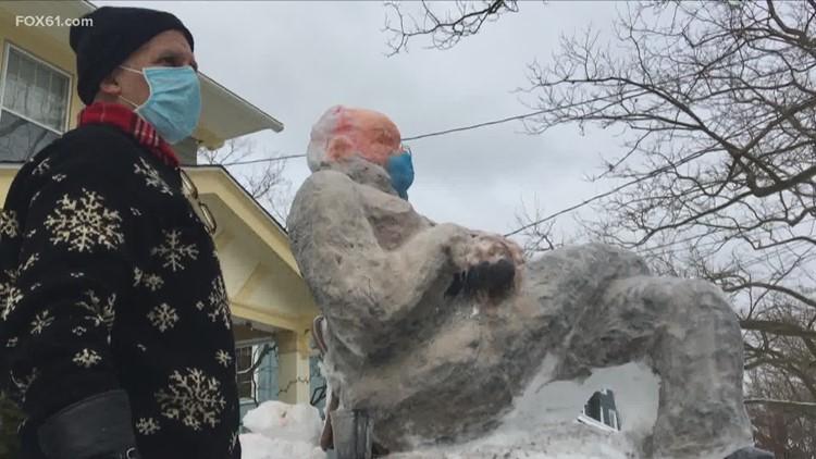 Bernie Sanders snow man turning heads in Westville, New Haven
