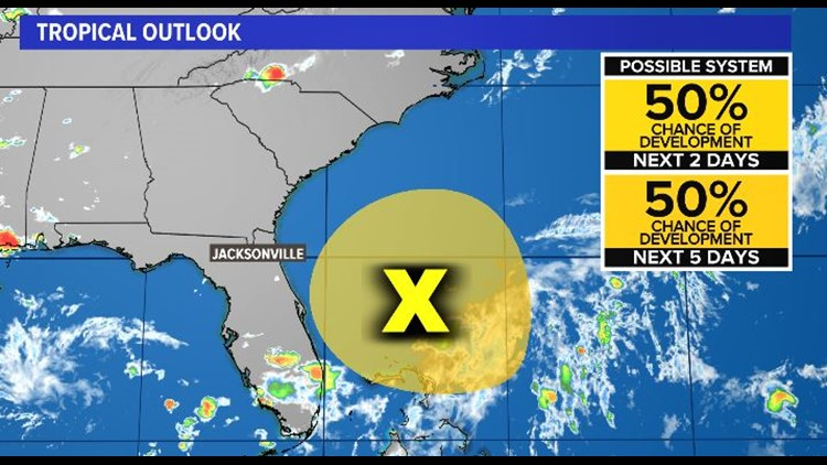 Tropics: Tropical low forming east of the First Coast
