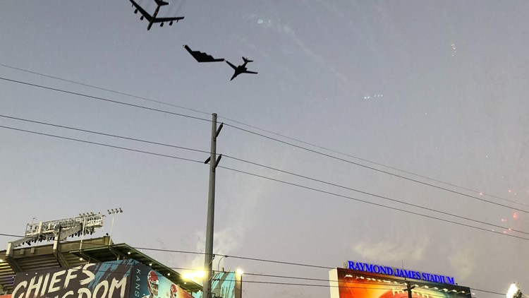 US Air Force performs historic flyover during Super Bowl LV national anthem