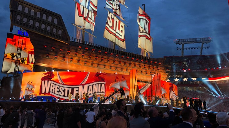 WrestleMania wows in-person fans for the first time in over a year after brief storm delay
