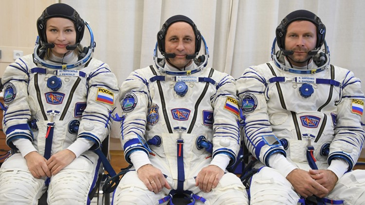 Russian film crew arrives at International Space Station to make first movie in space