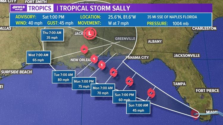 Tropical Storm Sally forms, forecast to become hurricane