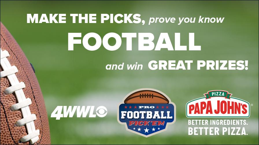 Papa John's Pizza presents the 2021 WWLTV Pro Football Pick'em Contest