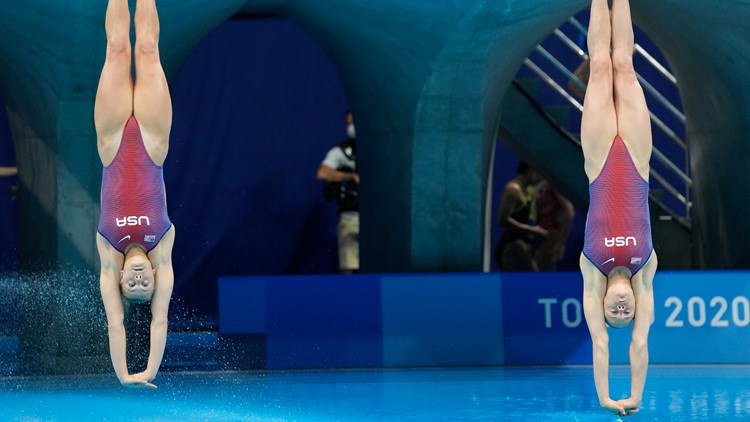 Why is water sprayed on pools in diving events?