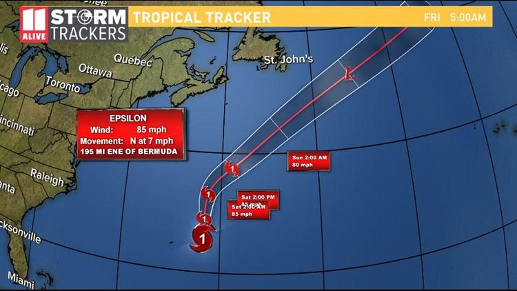 Hurricane Epsilon Moves away from Bermuda