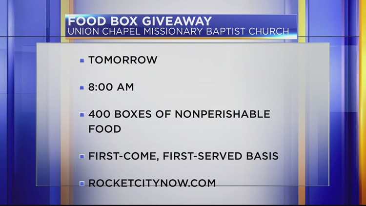 Union Chapel Missionary Baptist Church giving away free food this Saturday in Huntsville
