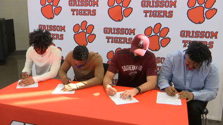 Four Grissom Tigers sign National Letters of Intent