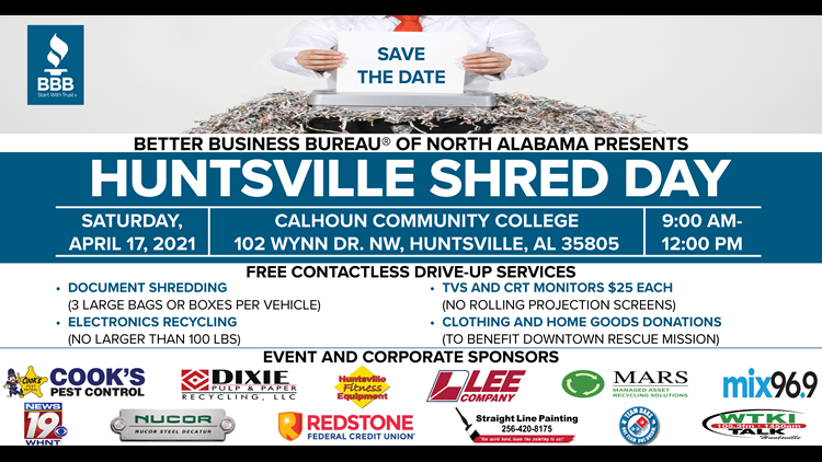 Protect your privacy and the environment at Huntsville Shred Day