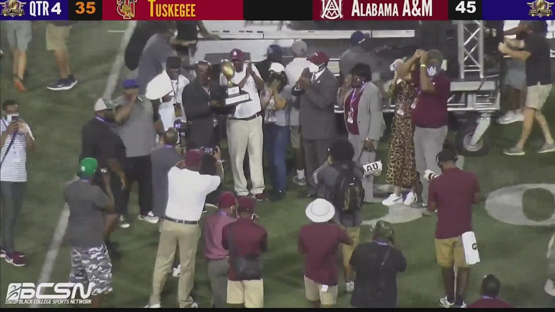 Alabama A&M Bulldogs remain undefeated with 45-35 win over Tuskegee in Gulf Coast Challenge