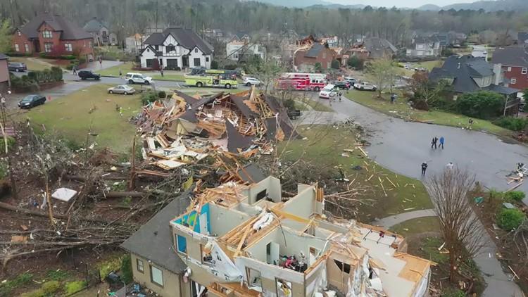 Lake Purdy, Alabama, home damaged in storm