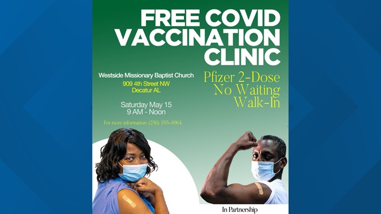 Free COVID vaccine clinic in Decatur on May 15