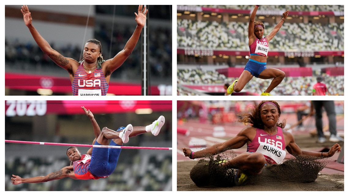 Harrison finishes 7th in Men's Olympic High Jump; Burks finishes 13th in women's long jump