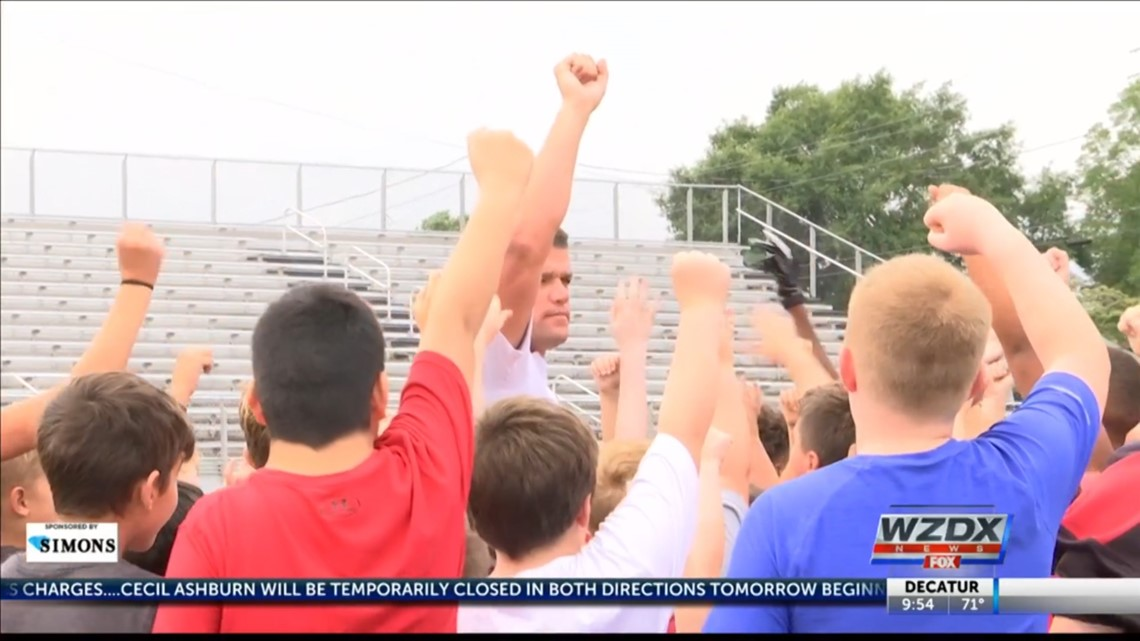 Youth football camp at Albertville High School