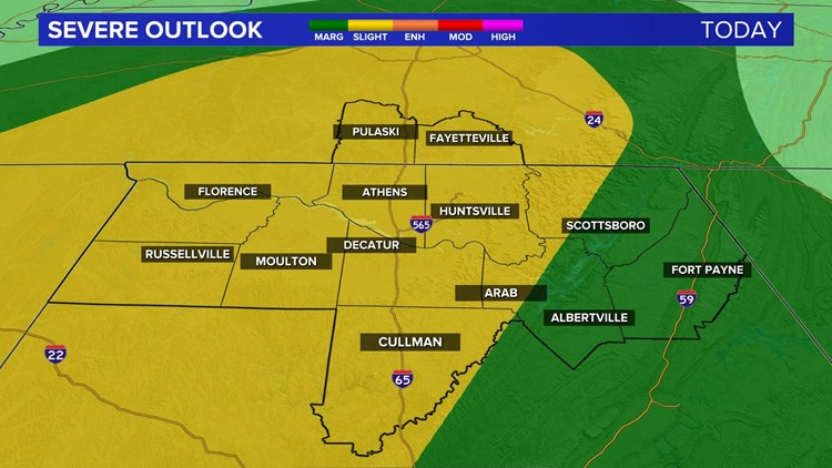 A Slight Risk for Severe Storms this Evening