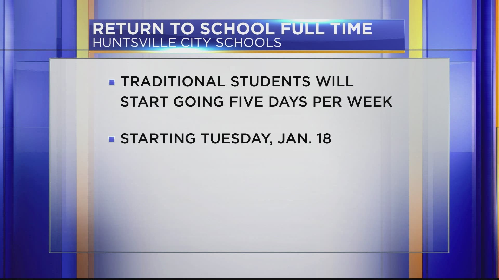 Huntsville City School Calendar 2021-22 Huntsville City Schools returns to full in person schedule | 10tv.com