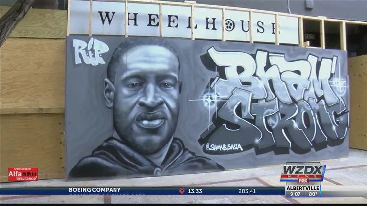 George Floyd mural vandalized in Birmingham, what the owner decided to do
