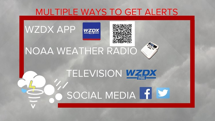 Severe weather alerts on the WZDX News app