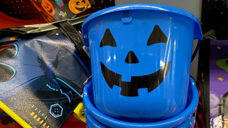 Blue pumpkin buckets could help nonverbal children say 'trick-or-treat'