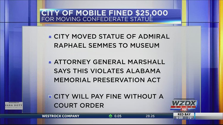 Mobile to pay fine, move Confederate statue permanently